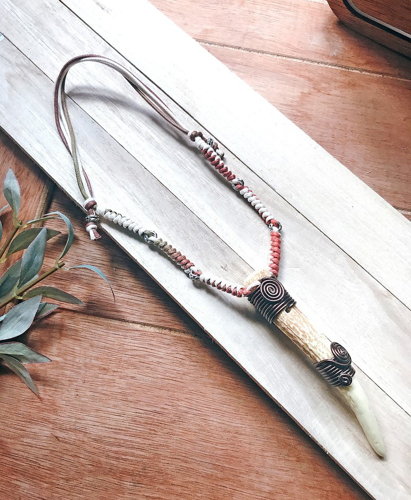 Sambar-Chaser stag deer horns necklace aboriginal personality