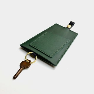 【00:00 Christmas Tree】 leather key bag vegetable tanned green X black leather can put cards travel card credit card custom lettering as a gift Christmas Valentine's Day gift