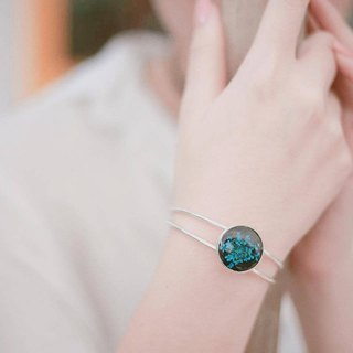Ammi majus (blue) - Bangle (sliver color)20 mm