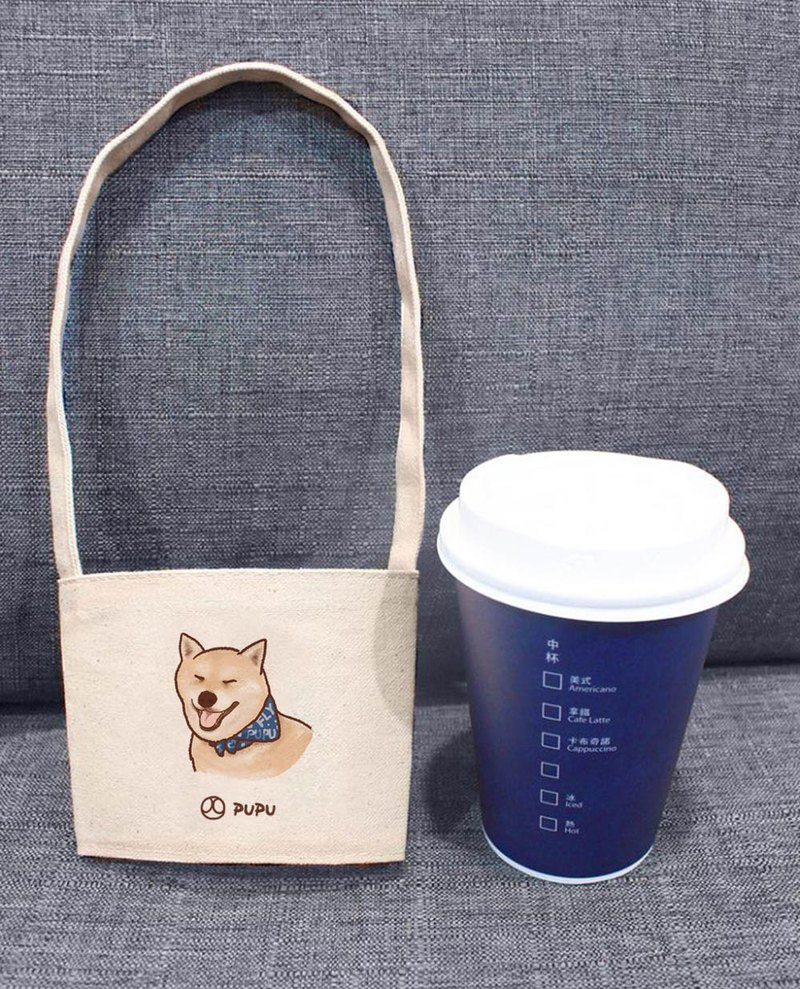 Shiba Inu-Blue Scarf (Cup Set)-Taiwan Cotton Burst-Wen Chai Shijiao-Environmental-Beverage Bag-Flies Planet