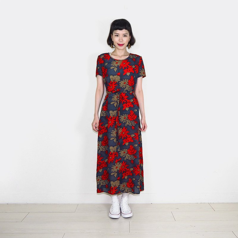 Long version of the red safflower retro chiffon short-sleeved long dress BR8023