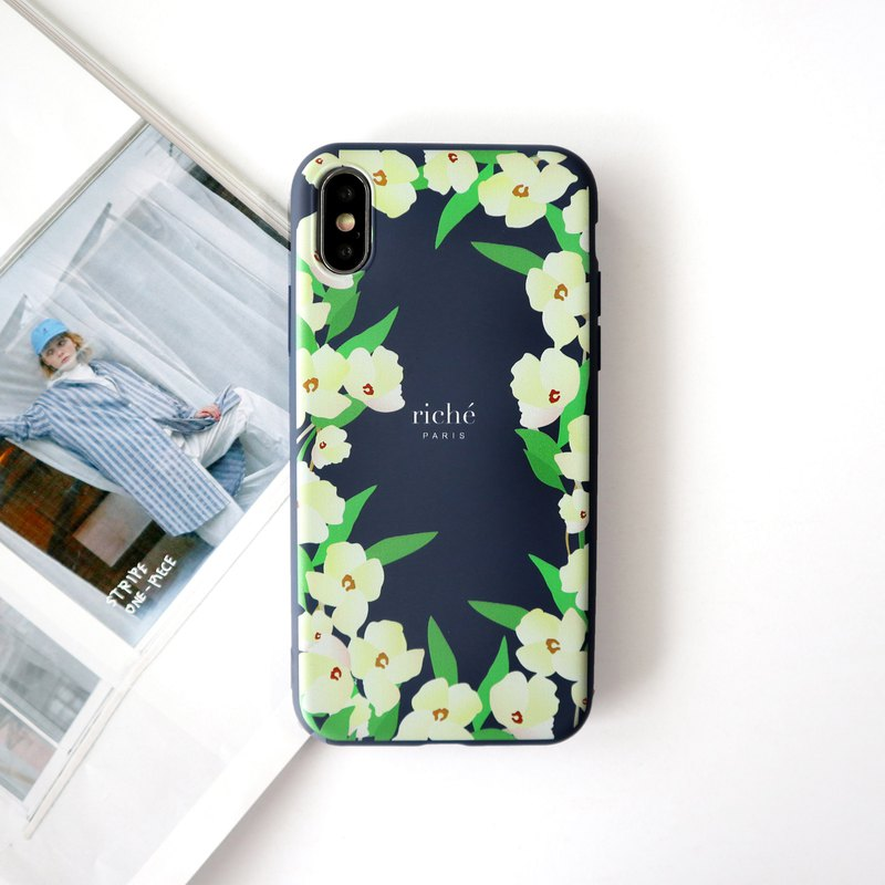 Beige iris tail dark blue phone case