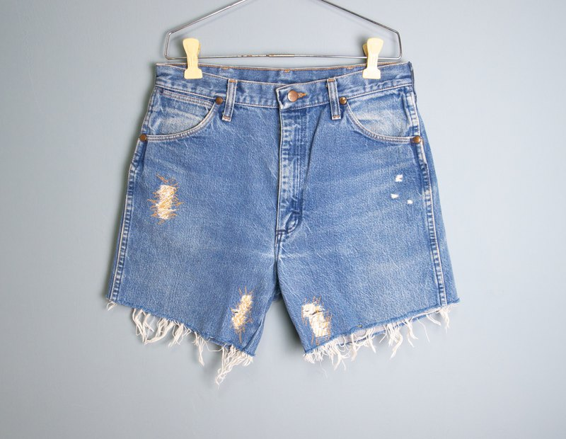 FOAK Vintage American Wrangler Patch Denim Shorts