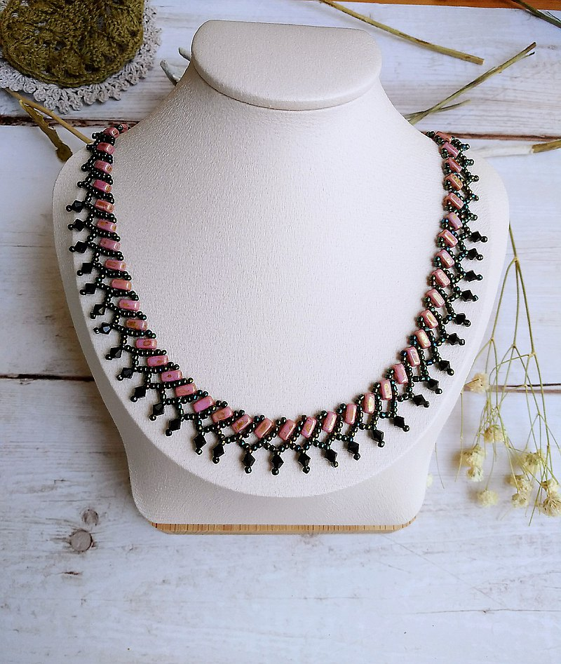 Tropical Rainforest Elegant Japanese Lace Beaded Design Jewelry Necklace Gift