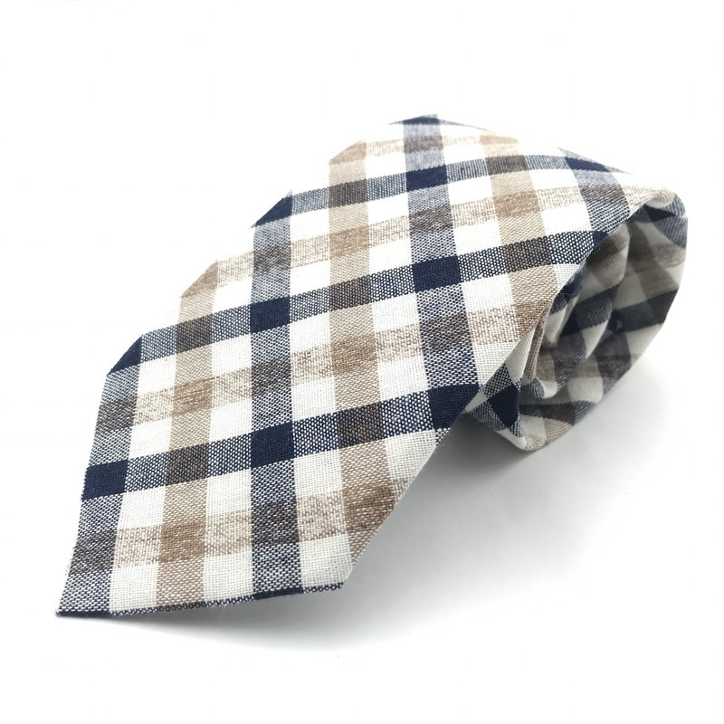 CAVEMAN Necktie - Blue Beige Checks Neckties