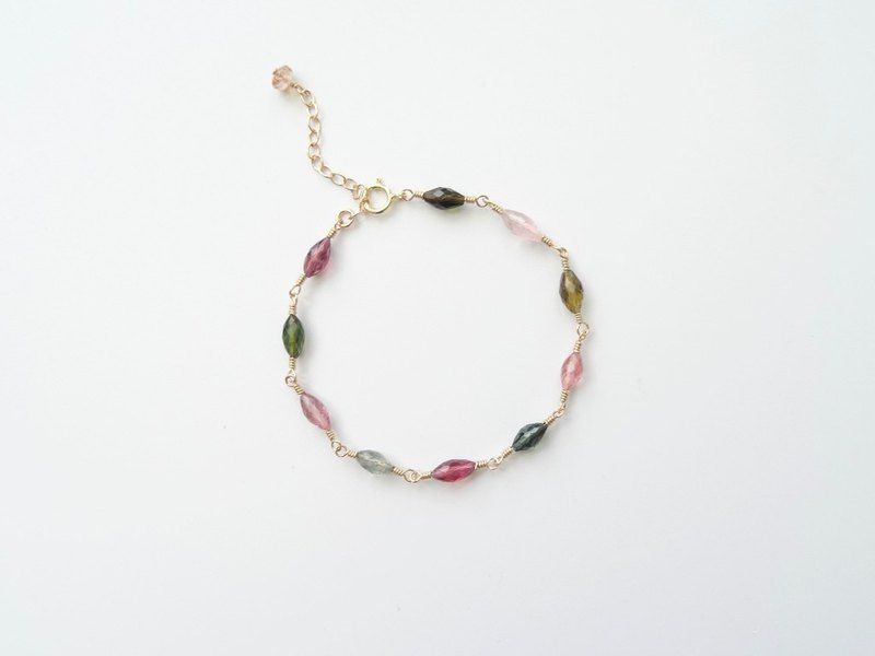 Multi-Color Tourmaline Faceted Marquise Beads 14K Gold Filled Bracelet