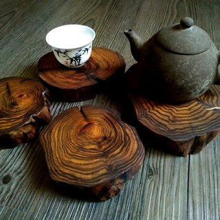 Huanglian wooden coaster decoration pedestal four pieces