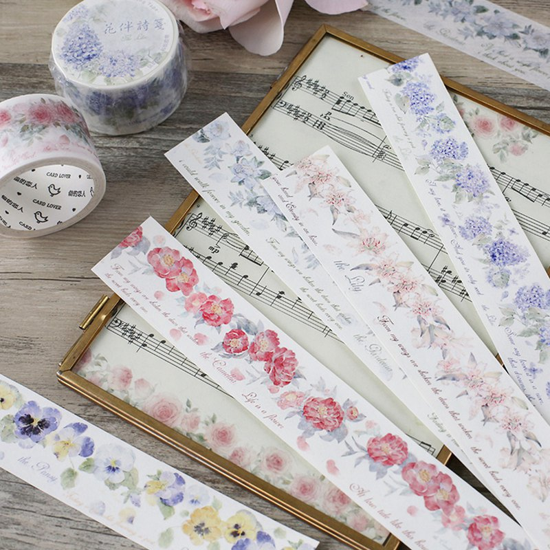 Letter Lover and paper tape (flower with poem paper) gorgeous flowers English tape hand account material tool