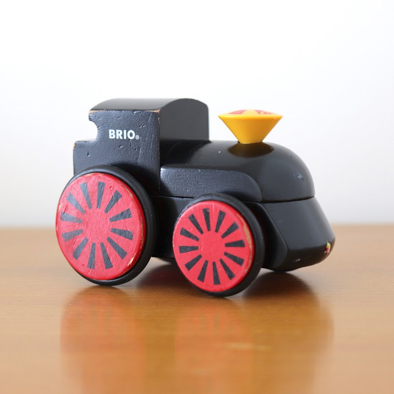 Swedish Brio solid wood black locomotive old toy