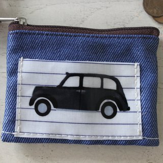 Coin purse ticket card set multi-function blue denim small object storage gift