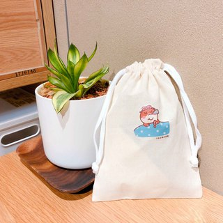Napping cat の daily cat canvas bundle pocket hand-printed Drawstring bag