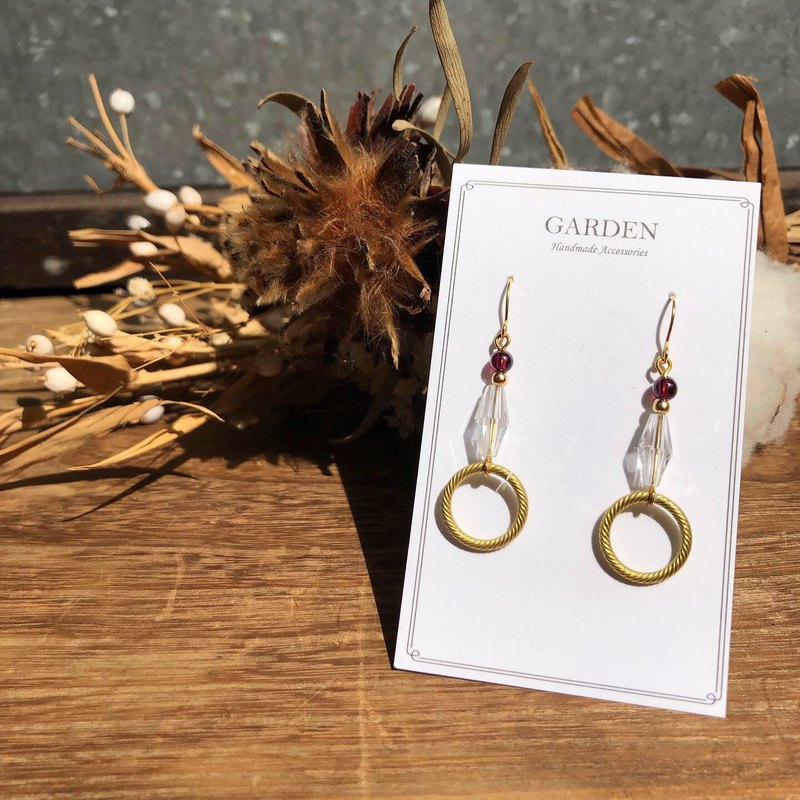 Garnet brass glass earrings