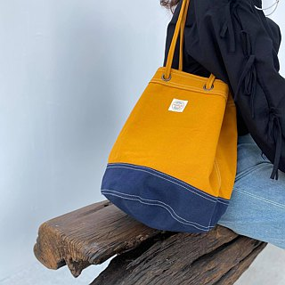 Mustard/Navy Canvas 2way Bucket Bag w/ Strap Leather Handles.