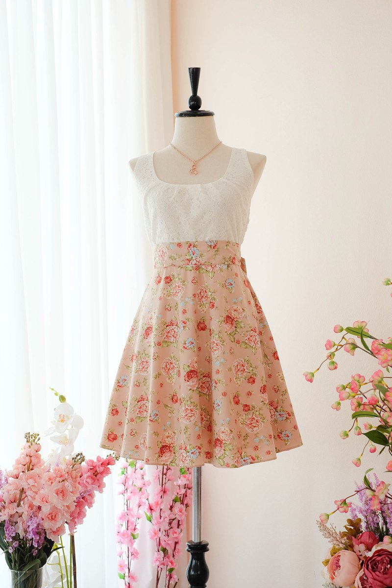 Cutie Pink Floral Sundress Spring Summer Tea Dress Vintage Inspired