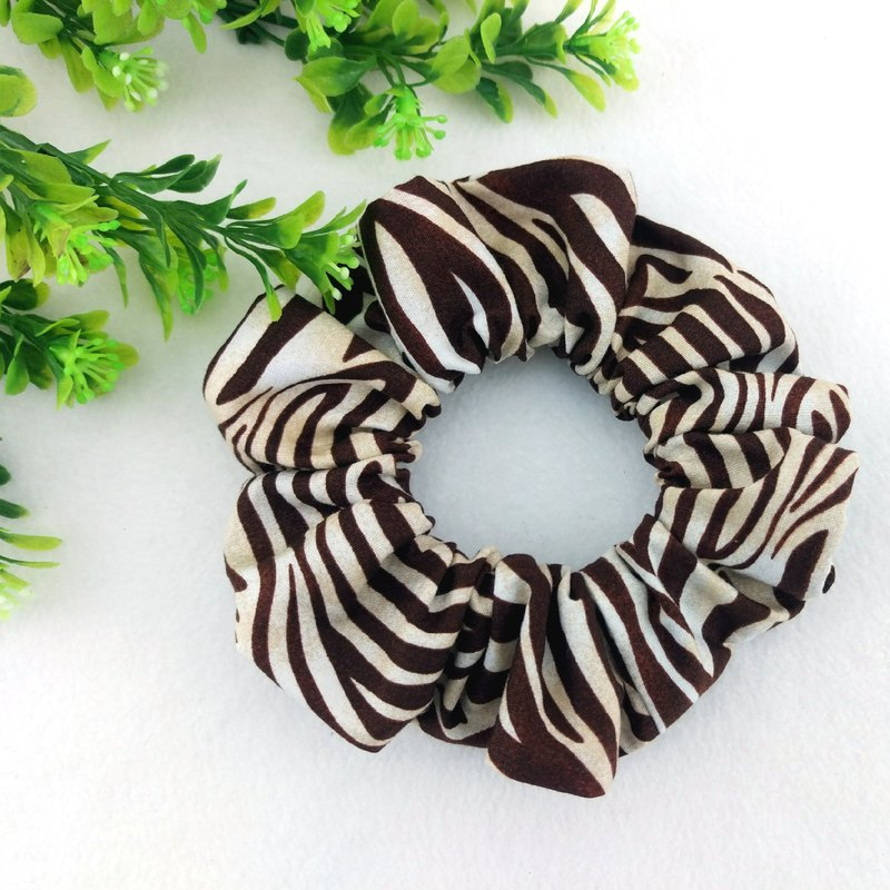 Chocolate zebra pattern. Handmade donut hair bundle / large intestine ring