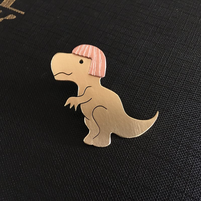 Brass red tyrannosaurus brooch luxury deduction type customized