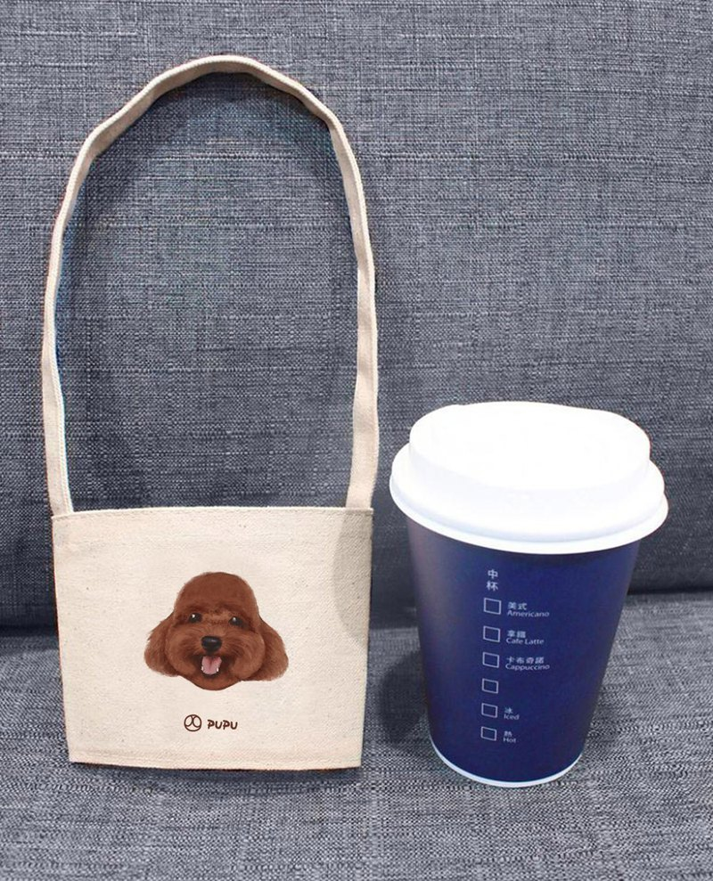 Red VIP - big head (cup set) - Taiwan cotton linen - Wenchuang Shiba Inu - environmental protection - beverage bag - fly planet