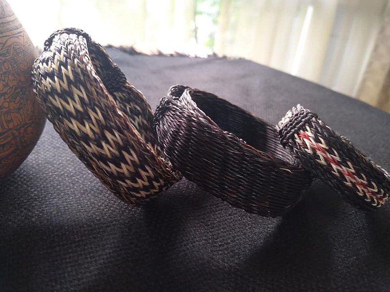 South American Indian handmade horsehair woven bracelet-wide version