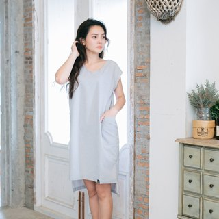 Gray Line Dress V-Neck