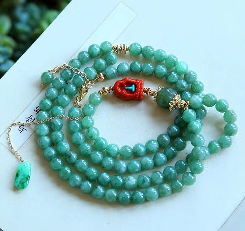 Pure natural A cargo jadeite design four-ring bracelet style chic color emerald green emerald safety buckle
