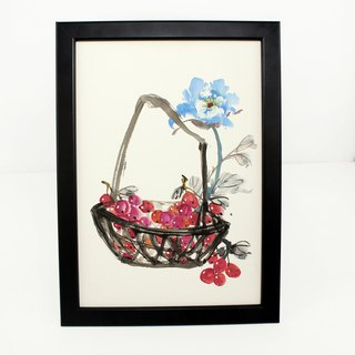 Hand-painted hanging peony grape fruit basket Chinese painting decoration (with picture frame)