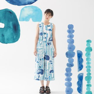 Y1,hsuan X Honglin exclusive printed fabric series front slit jumpsuit trousers rain