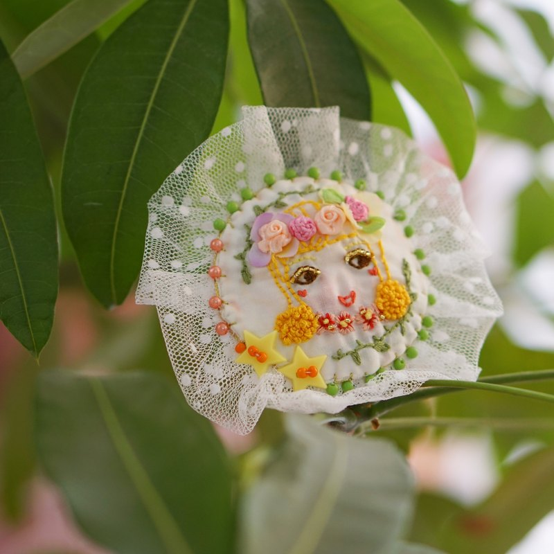 Unique original flower season girl series flash embroidery girl brooch