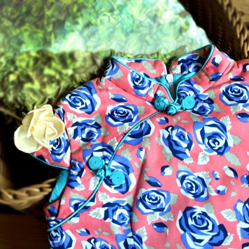 兒童旗袍 古風 冬季款 藍玫瑰