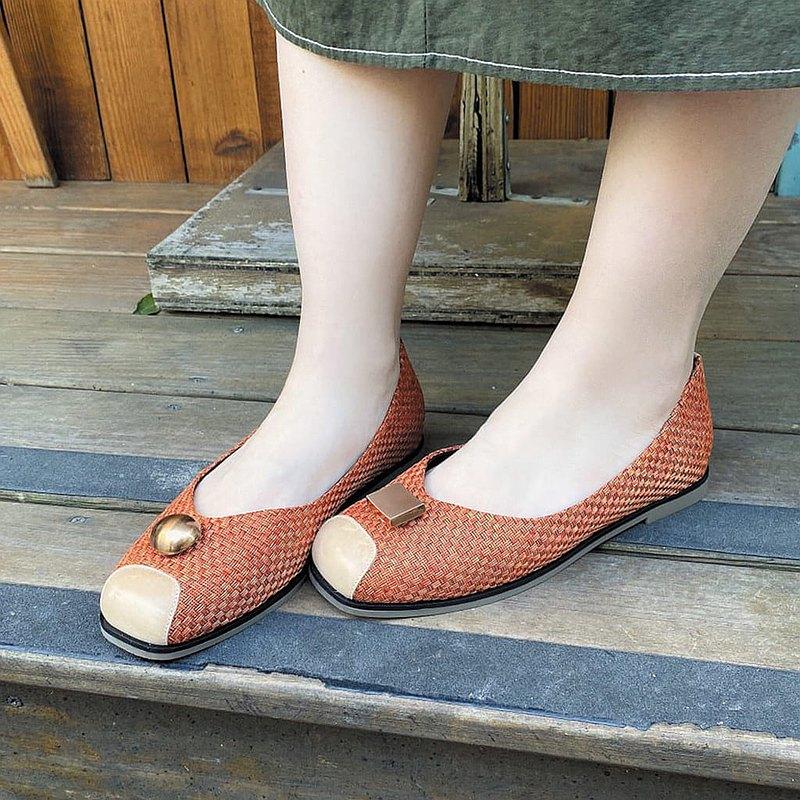 【隨方就圓】釋壓舒緩方頭編織娃娃鞋_明亮橘