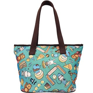Jacquard weave painting Tote happy circus (blue-green) coffee