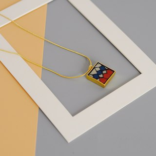 Retro Ball Hand Mosaic Mosaic Gold Plated Necklace 925 Silver Gold Plated Geometric Contrast Long Chain