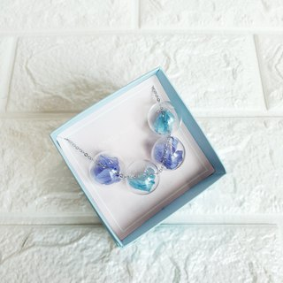 Purple Pastel Blue Necklace Bridesmaid gift wedding gift Glass Ball Flower