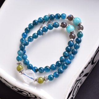 Apatite + Tianhe Stone + Labradorite Sterling Silver Double Ring Bracelet