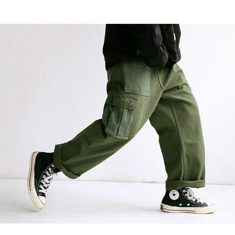 軍綠色 日系基礎休閒可束腳兩穿工裝長褲 中性男女款直筒寬褲 S-M