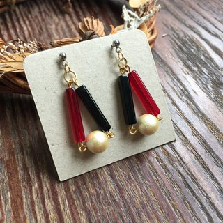 Earrings-Retro Series/Classic Black Red Japanese Cotton Pearl