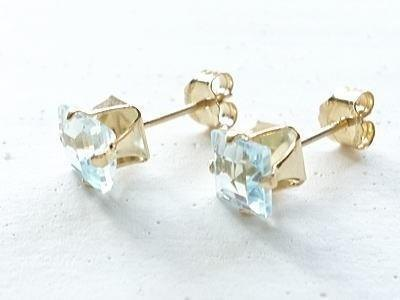 Squre Blue Topaz Pierce