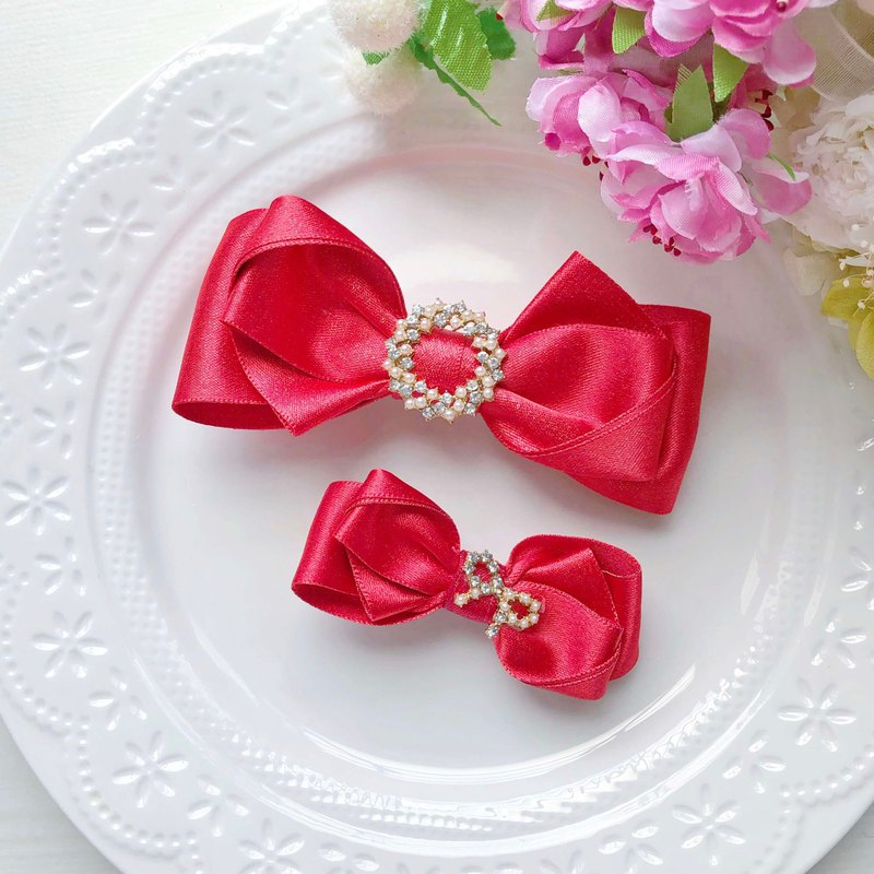 Red happy new year shiny bow parent-child mother-daughter bow hairpin
