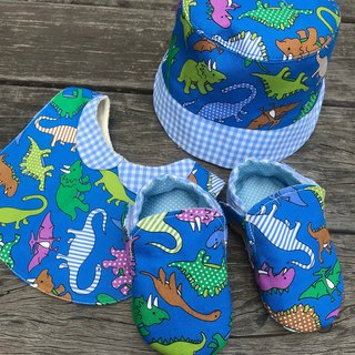 Dinosaur Moon Gift Set - Hats + Bibs + Shoes - Blue