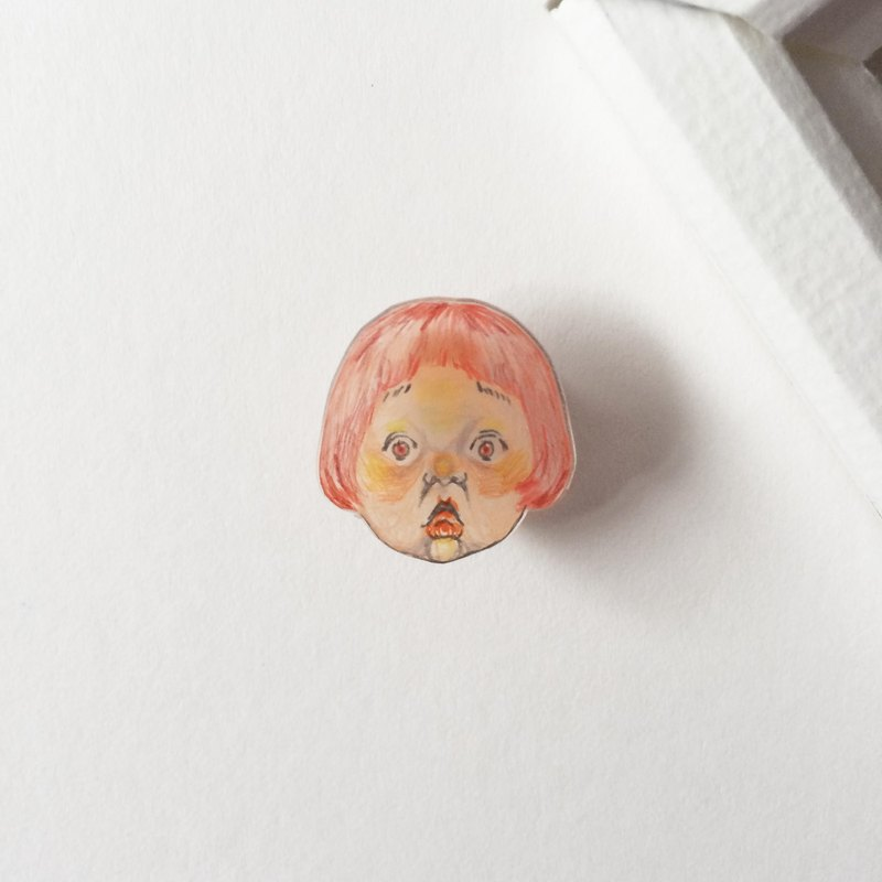 #09 SURPRISED Girl : Handmade Transparent Shrink Plastic Brooch
