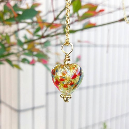 [Venetian Glass Beads] Jeweled Gold Foil Murano Glass Heart Bead Necklace
