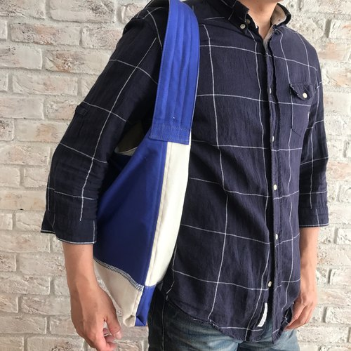 Cotton+Linen Blue + White  one handle shoulder bag