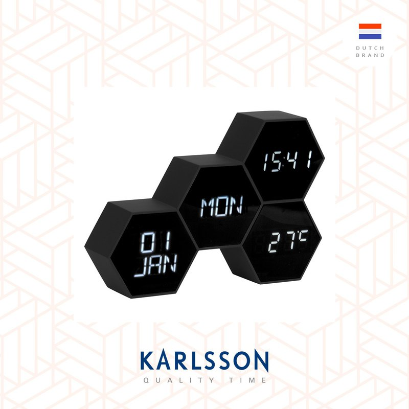 荷蘭Karlsson,LED Alarm clock Six in the Mix rubberized black