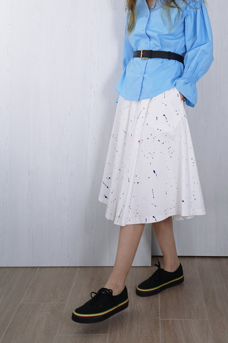 OUD original. Printed Pleated Cotton Skirt.