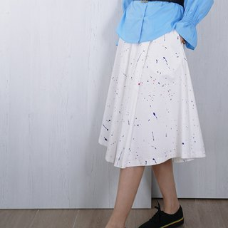 OUD original. Printed Pleated Cotton Skirt. XS-XXL/ Customized Size