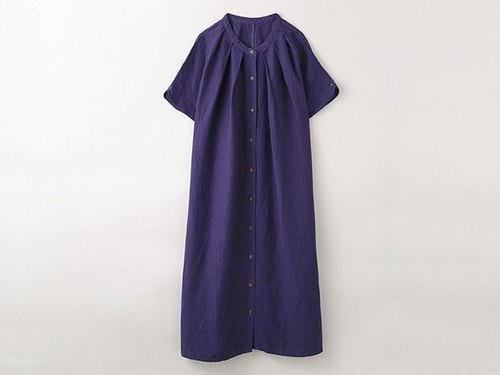[Botanical Die] Quanzhou Eggplant Dye Stand Color · Long Shirt One Piece 8514-04020-23
