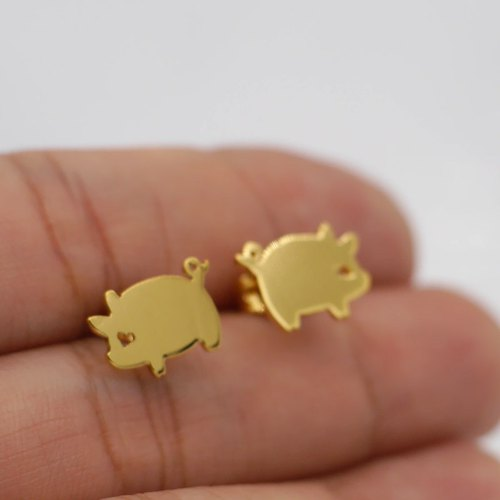 Handmade Little Pig Earring - 18k gold plated on brass, Tiny Earring, Animal Jewelry,birthday gifts