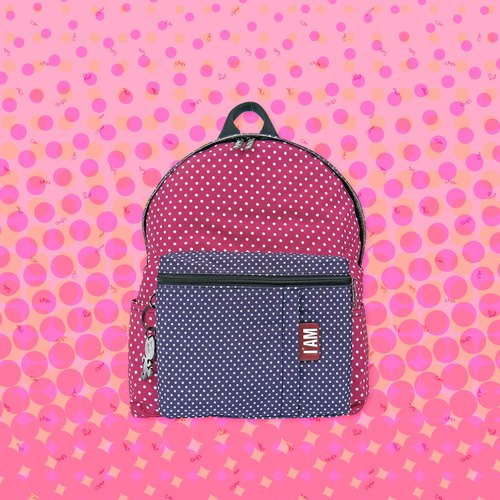[Free shipping] M round powder / purple backpack