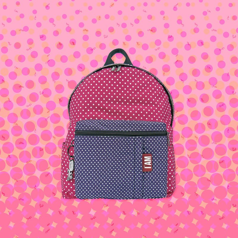 Free shipping I AM-M Dotted Powder / Purple Backpack