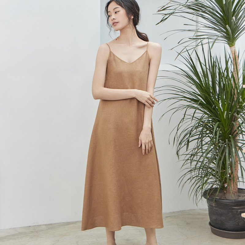Pure linen sling dress [CONTRAST card poem]