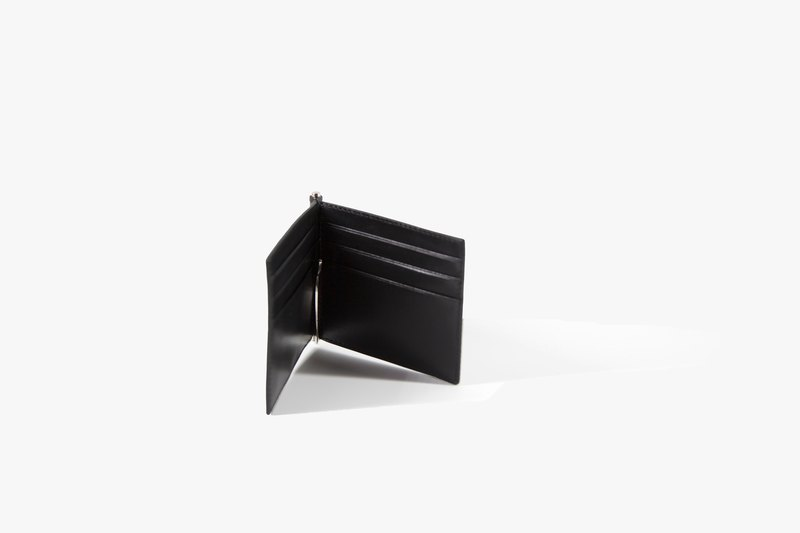 Clip Wallet / Money Clip / Leather / Card Case / Black